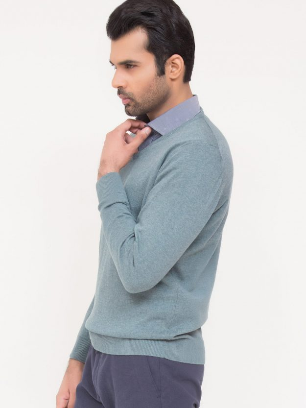 Sea Green V-Neck Sweater-2