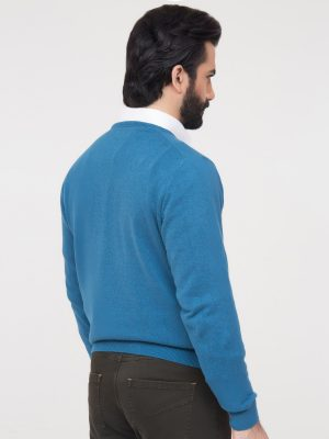 Teal Blue V-Neck Sweater