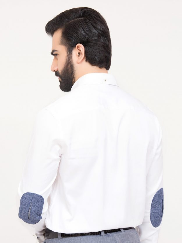 White Shirt With Blue Elbow Patch-4