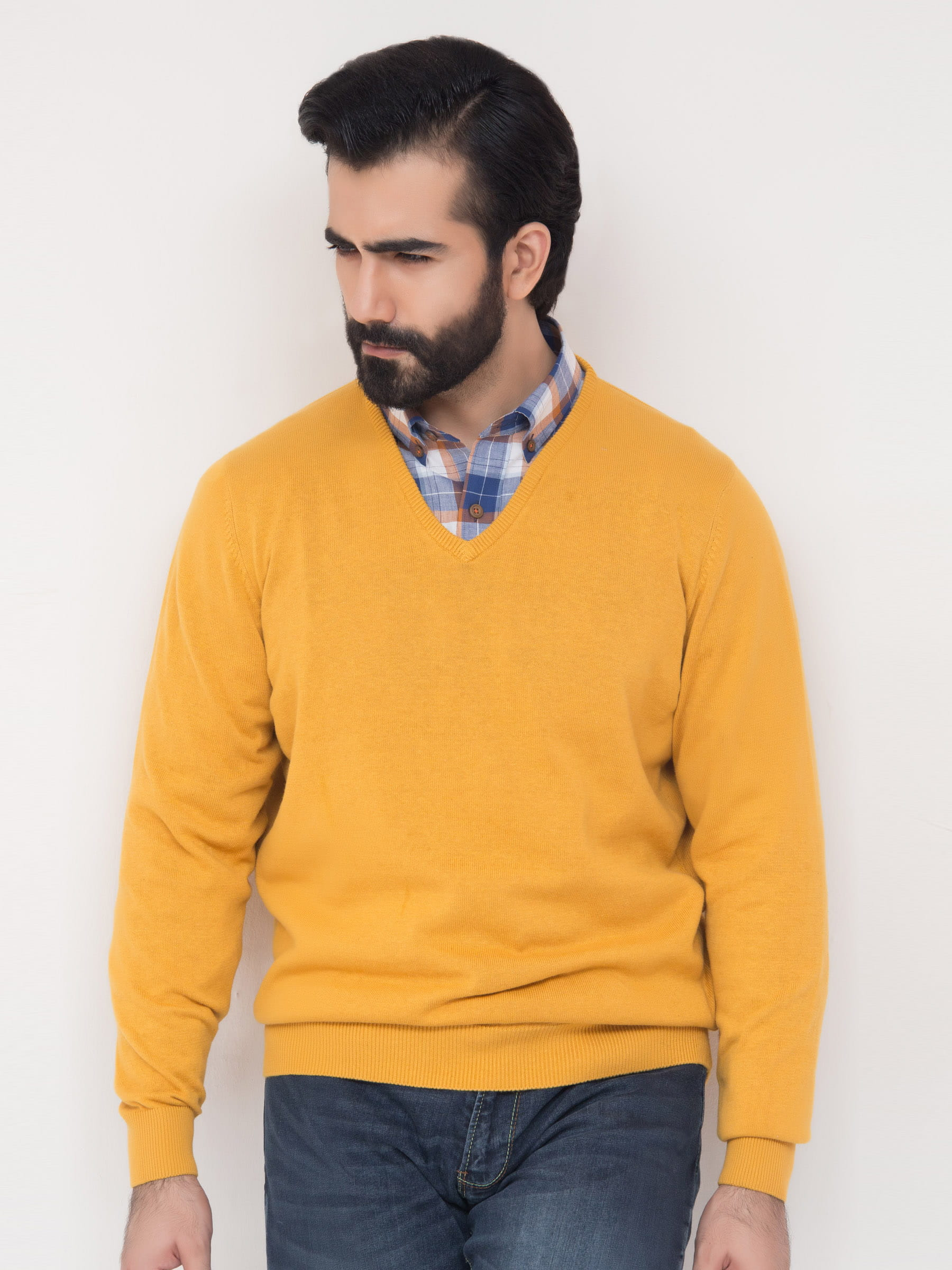 Mens Yellow V Neck Sweater