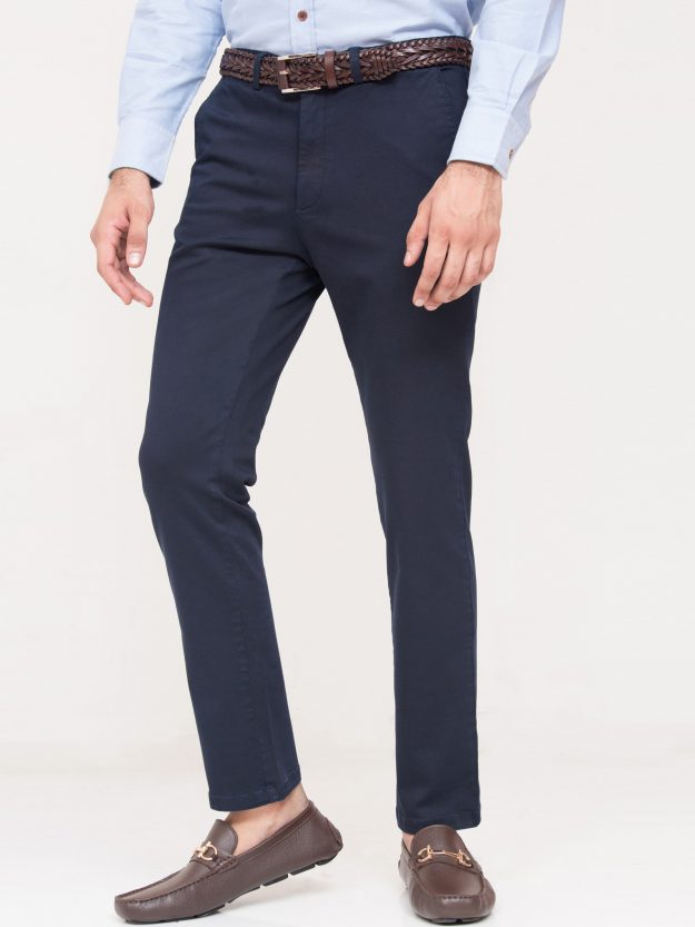Navy Blue Slim Fit Chino-2
