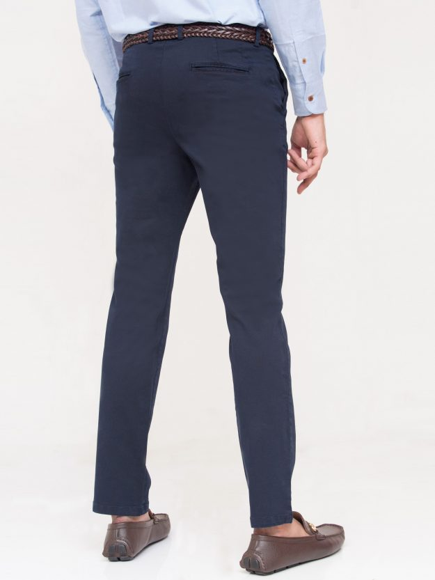 Navy Blue Slim Fit Chino-4