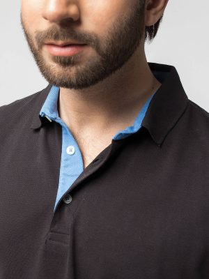 Slim-Fit Black Pima Polo Shirt
