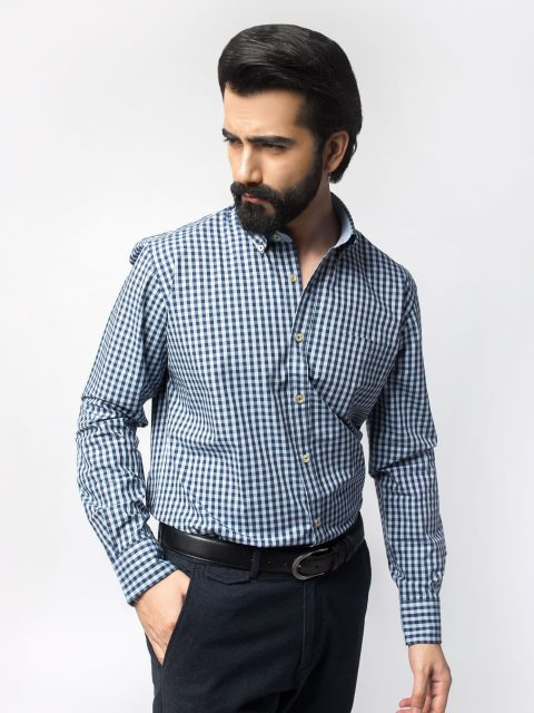 Blue Gingham Checkered Shirt (BRM-476)-1