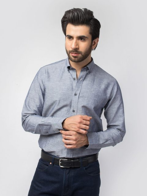 Grey Linen Shirt With Detailing (BRM-444)-1
