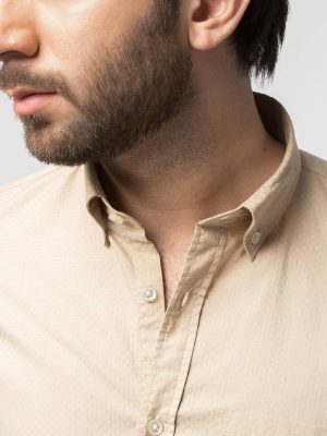 Slim-Fit Nomad Beige Structured Shirt