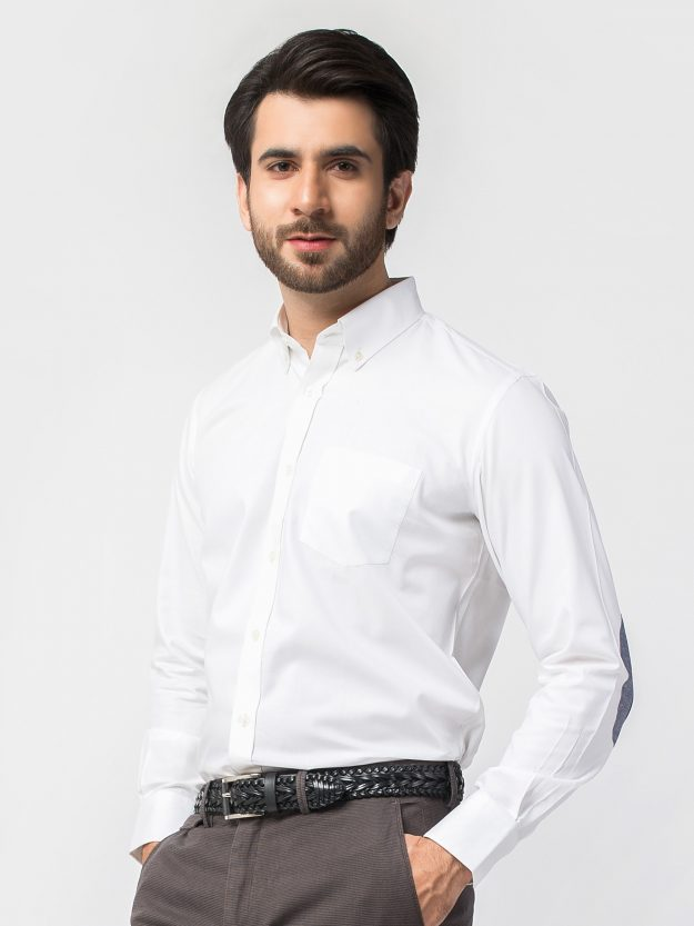 White Shirt with elbow patch (BRM-440)-3