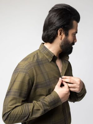 Moss Green Checkered Shirt