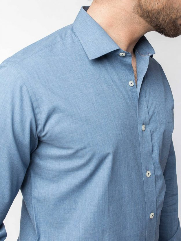Blue Chambrey Shirt with Elbow Patch -BRM-456-1