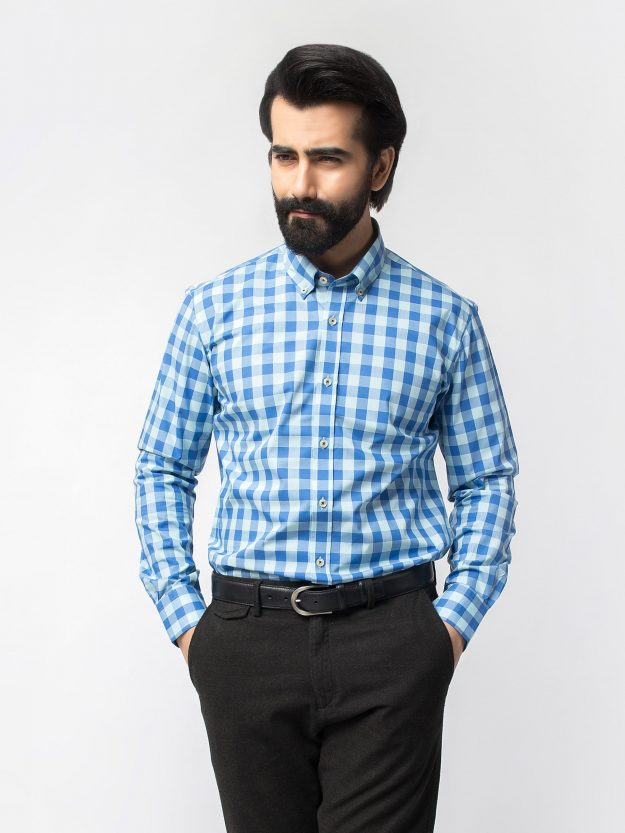 Blue Gingham Check Shirt BRM-471-2