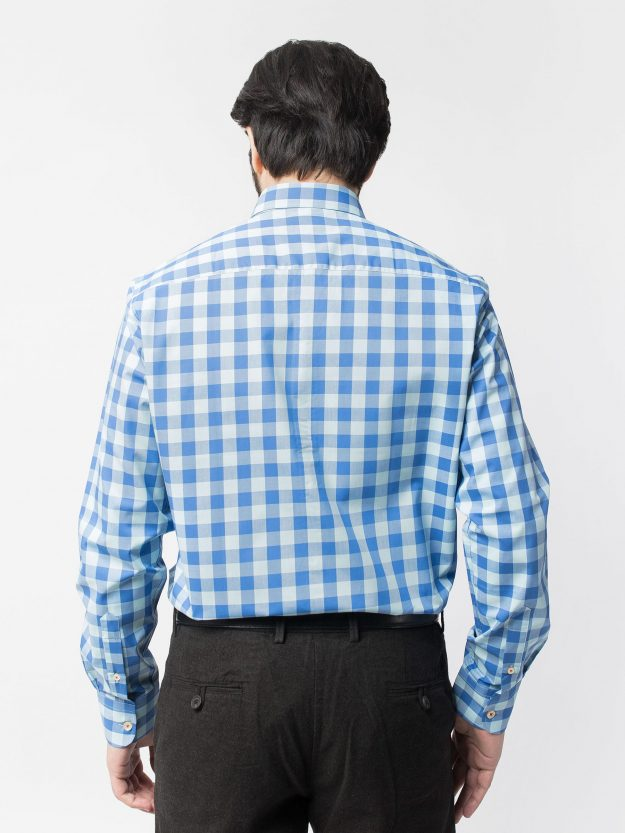 Blue Gingham Check Shirt BRM-471-3