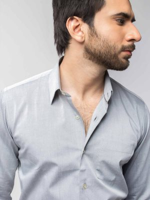 Grey Pointed Collar Shirt