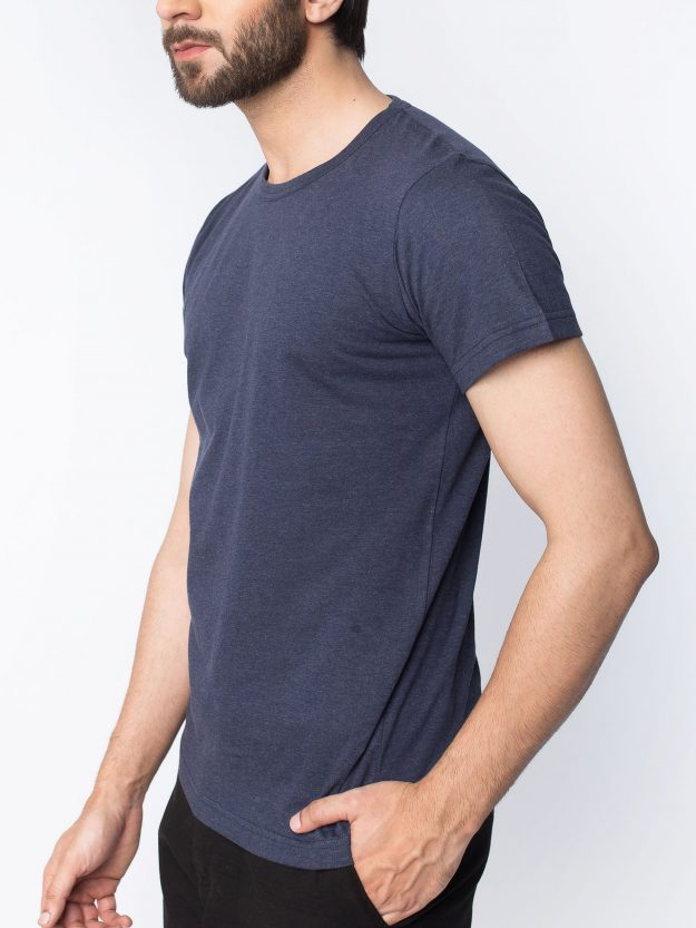 Navy Half Sleeve T-Shirt-5