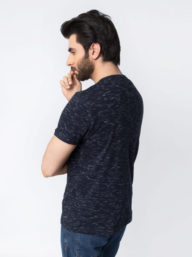 Navy Blue Patterned T-Shirt-2