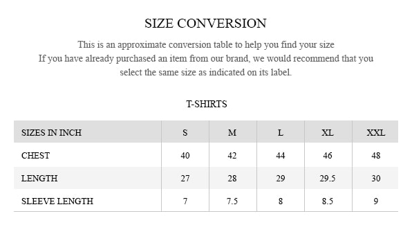 Brumano size guide T-Shirts
