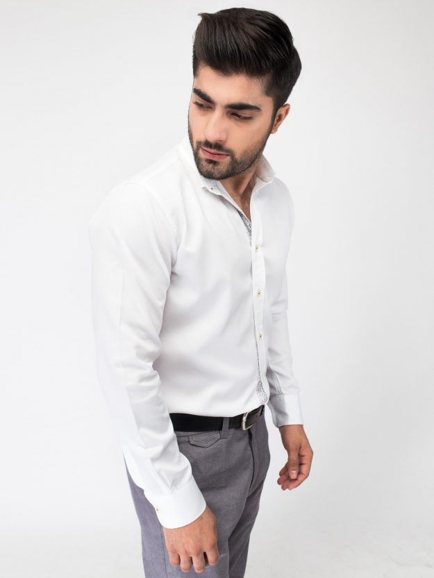 Slim-Fit White Oxford Shirt With Detailing 3