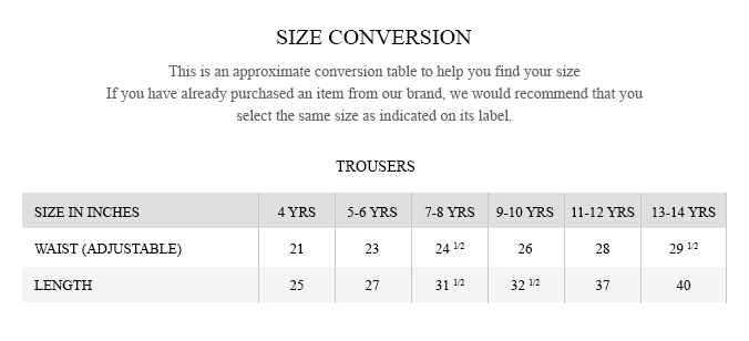 Brumano Junior - Trousers size guide