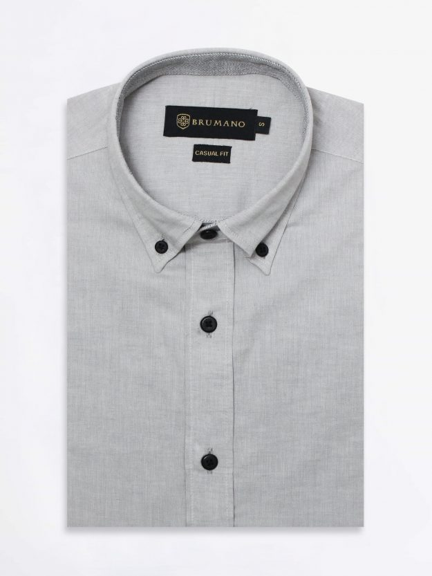 Light Grey Cotton Linen Shirt With Elbow Patch
