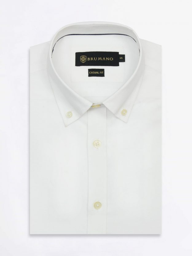 White Textured Shirt With Blue Elbow Patch
