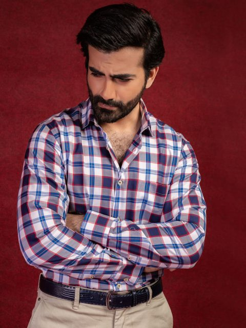 Blue & Red Large Check Shirt