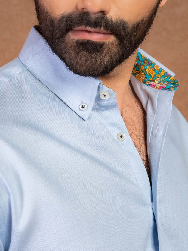 Blue Shirt With Printed Detailing