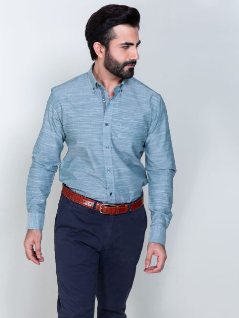 Green Slub Textured Shirt