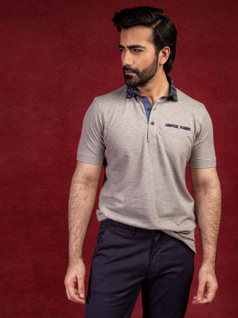 Grey Polo With Navy Printed Collar