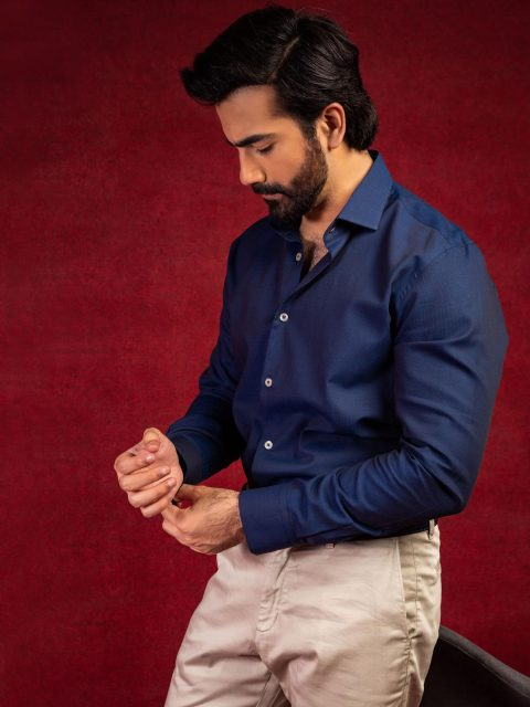 Navy Blue Formal Structured Shirt