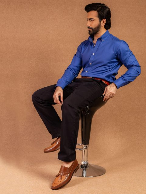 Royal Blue Structured Shirt With Button Down Collar