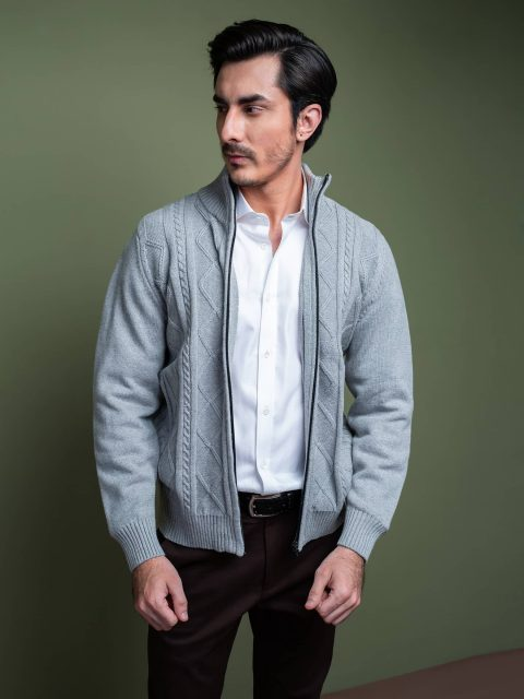 Heather Grey Cable Knitted Zipper Brumano Pakistan