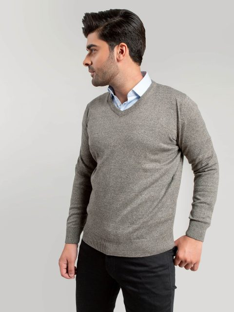 Anthracite Brown V-Neck Sweater