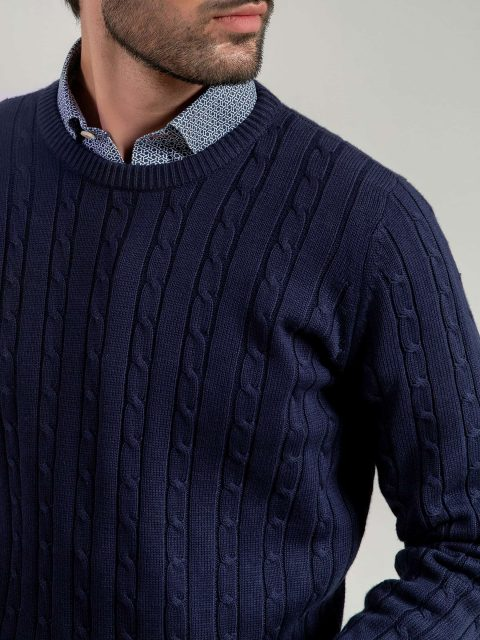Classic Navy Cable Knit Crew Neck Sweater